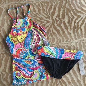 Anne Cole High Neck Halter Tankini Swimsuit